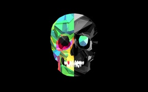 Wallpaper black background, line, teeth, skull, strip, color