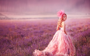 Picture look, model, dress, meadow, bow, lavender