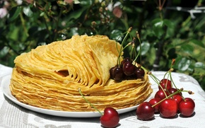 Picture light, cherry, Table, plate, pancakes, cherry