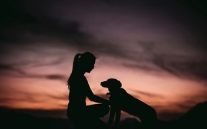 Picture girl, dog, silhouette