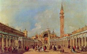 Picture people, picture, area, day, Venice, Italy, francesco guardi, Francesco Guardi, San Marco