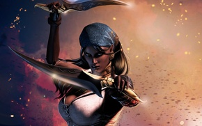 Picture look, girl, face, weapons, patterns, earrings, hands, knives, Dragon Age 2, Isabella