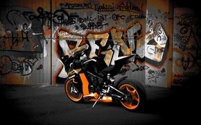 Picture black, motorcycle, black, rear view, bike, ktm, rc8 r