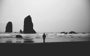 Picture waves, beach, rocks, man, shadows, troubled sea, gray clouds