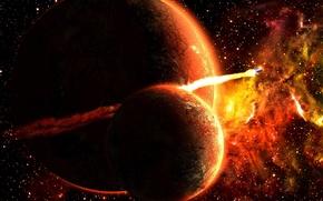 Picture fire, planet, satellite, rocket