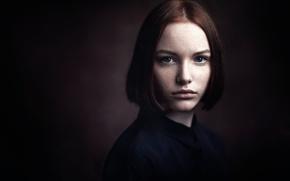 Picture portrait, freckles, the beauty, Studio, color grading