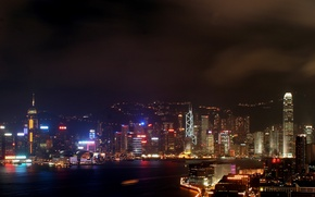 Picture city, sky, night, hong kong