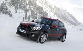 Picture Winter, Mountains, Black, Strip, Lights, Mini Cooper, MINI, The front, Mini Cooper