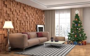 Wallpaper balls, room, sofa, toys, lamp, interior, carpet, pillow, Cup, gifts, New year, vase, tree, garland, ...