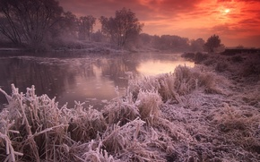 Wallpaper frost, autumn, the sun, sunset, river, UK