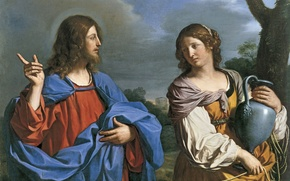Wallpaper picture, mythology, Guercino, Christ and the Samaritan woman at the Well