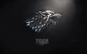 Wallpaper wolf, the series, coat of arms, motto, A Song of Ice and Fire, Winter is ...