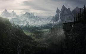 Picture landscape, mountains, rocks, dragon, view, dragonborn, dragon, Skyrim, The Elder Scrolls