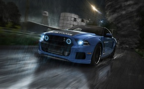 Picture Mustang, Ford, Shelby, GT500, Car, Rain, Road