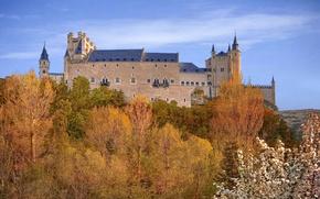 Picture autumn, the sky, trees, fortress, Spain, Palace, Alcazar, Segovia