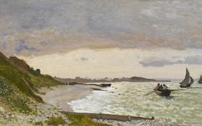 Picture shore, boat, picture, seascape, Claude Monet, The coast at Sainte-Adresse