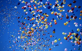 Picture balls, colorful, The sky, balloons