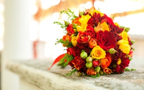 Picture flowers, roses, bouquet, yellow, red, orange