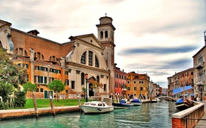 Picture bridge, tower, home, Italy, Venice, channel