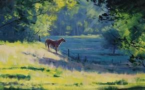 Wallpaper greens, trees, landscape, horse, horse, the fence, morning, art, artsaus