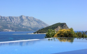 Picture sea, water, trees, mountains, rocks, hills, pool