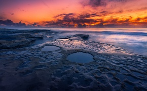 Picture beach, the sky, clouds, rocks, the evening, CA, USA, the Pacific ocean, state, San Diego