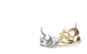 Picture girl, vocaloid, bow, Kagamine Rin, Vocaloid, tiger