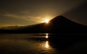 Picture the sun, lake, mountain, the volcano, Japan, Japan, Fuji