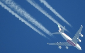 Picture the sky, the plane, blue, A380, Airbus, Emirates Airline
