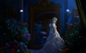 Picture girl, flowers, night, room, wings, candles, dress, art, rozen maiden, suigintou, bouquets, sideboard, akibakeisena