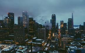 Picture landscape, night, the city, height, City, night