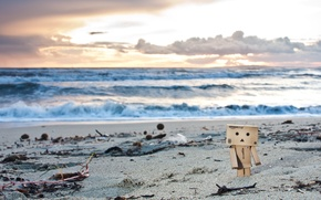 Picture sand, beach, algae, sunset, toy, danbo, figure, danbo