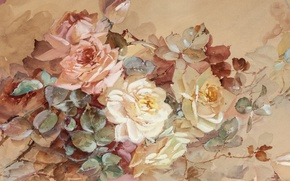 Picture flowers, roses, pastel, Franz A. Bischoff