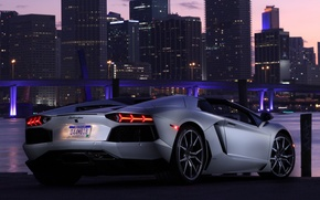 Picture the sky, light, bridge, the city, lights, car, roadster, back, LP700-4, Lamborghini Aventador