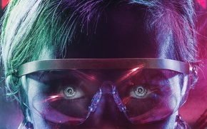 Wallpaper 4k, neon, cinema, man, hair, fantasy, film, official wallpaper, technology, eyes, face, blue, movie, pupils ...