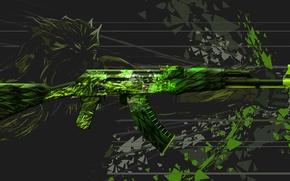 Picture fragments, monster, AK-47, punch, paint, workshop, cs go, custom paint job