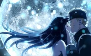 Picture moon, naruto, art, kiss, Naruto Uzumaki, Hinata Hyuga, Naruto The Movie the Last