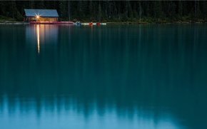 Wallpaper lake, boats, the evening, pier, house