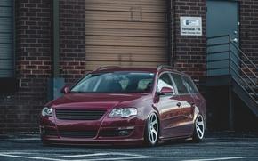 Picture Volkswagen, Red, Car, Stance, Passat, Dapper, Variant