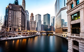 Wallpaper Winter, The evening, River, Chicago, Skyscrapers, Building, America, Chicago, River, America