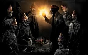 Wallpaper cake, birthday, romance of the Apocalypse, happy birthday, romantically apocalyptic, skeletons, captain, feast