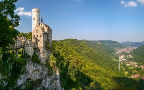 Picture Baden-Württemberg, mountains, Germany, Baden-Württemberg, Germany, panorama, castle, rock, Lichtenstein Castle, Württemberg, Württemberg, Lichtenstein Castle, valley