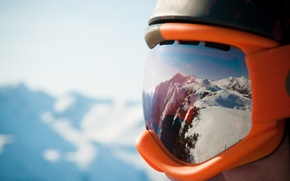 Picture mountains, pearls, goggles Snow