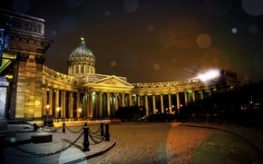 Picture snow, night, lights, Cathedral, Kazan Cathedral, center, St Peterburg