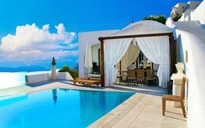 Picture sea, landscape, nature, home, Santorini, Greece