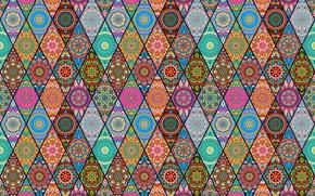 Wallpaper flowers, patterns, diamonds