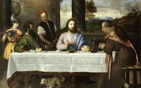 Picture wine, picture, The Louvre, bread, dog, gesture, wine, painting, jesus christ, the story of the …