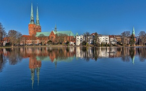 Picture the sky, reflection, blue, Germany, mirror, Lubeck, Schleswig-Holstein, St. Mary's Church, The grass river