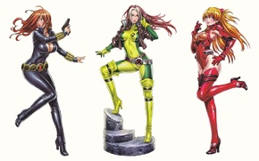 Picture fiction, anime, white background, Neon Genesis Evangelion, girls, art, comic, Rogue, Black Widow, Avengers, Asuka …