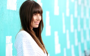Picture smile, background, actress, hairstyle, brown hair, beautiful, Jessica Biel, Jessica Biel